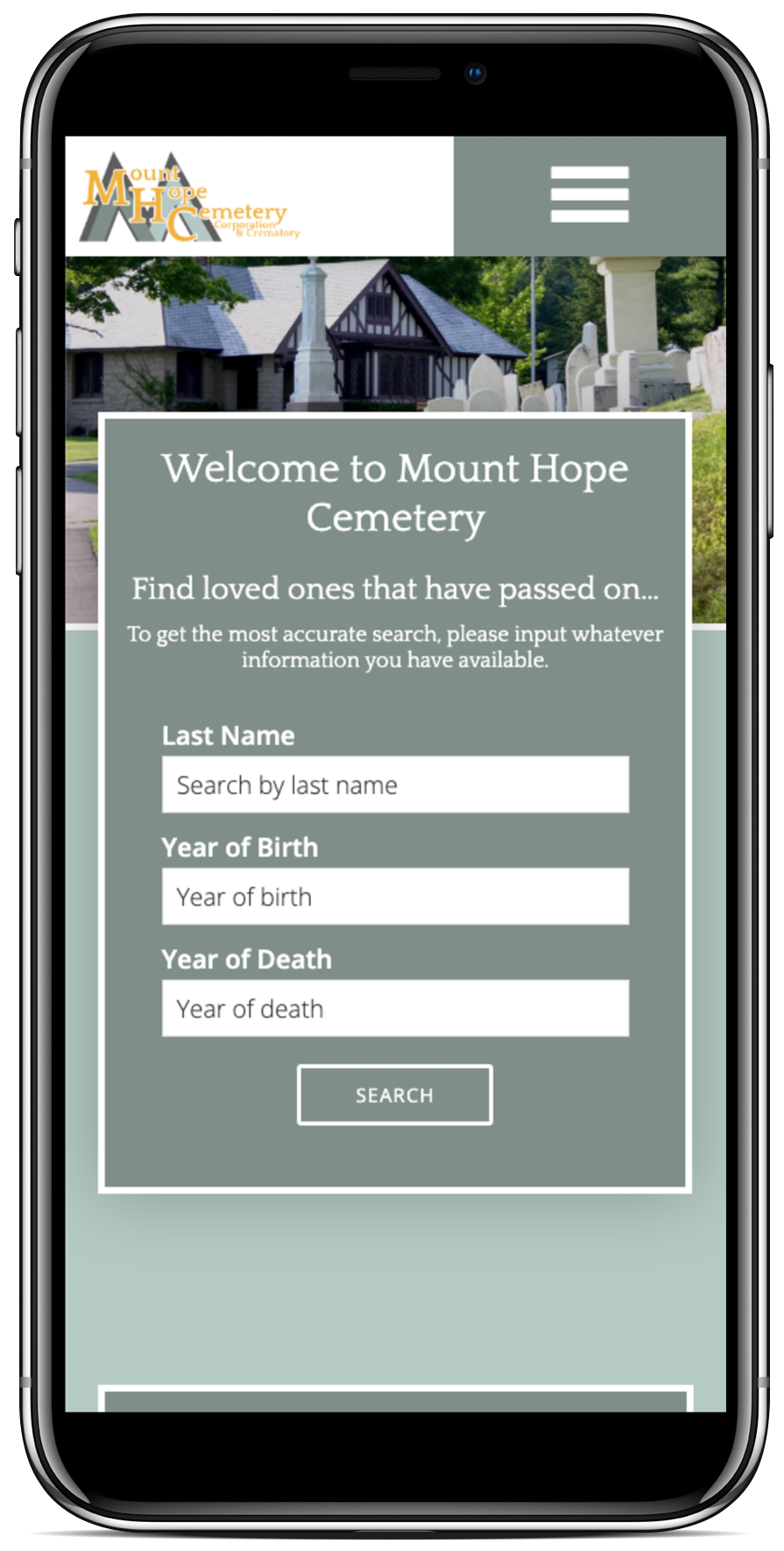 Mount Hope Cemetery and Crematorium - Interment Finder Application on Mobile phone